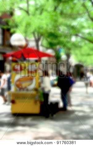 Hot Dog Vendor, Abstract, Blurred
