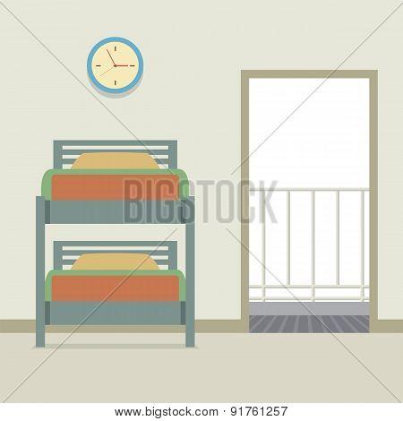 Bunk Bed With An Open Door.