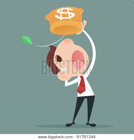 Losing Money, Businessman losing money from a bag poster