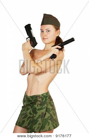 Topless Military Girl