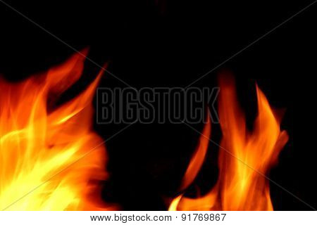 Flames Of Fire On The Black Background