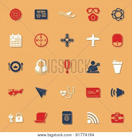 Air transport related classic color icons with shadow