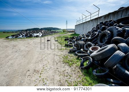 Pile Of Old Tires In Farm