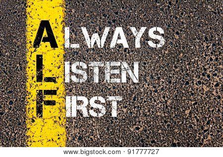 Business Acronym Alf As Always Listen First