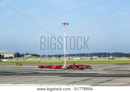 Communication And Light Mast At Apron Of Hamburg Airport