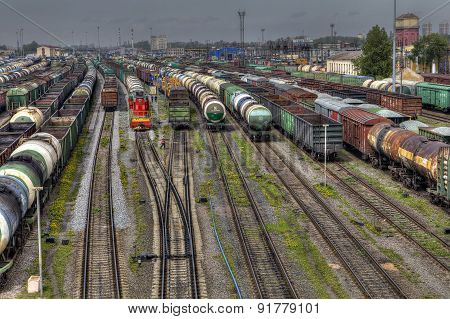 Freight Trains Ready To Depart For Shunting Yard, Russia.