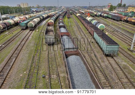 Carriages Of Freight Trains On Commercial Railway, St. Petersburg, Russia.