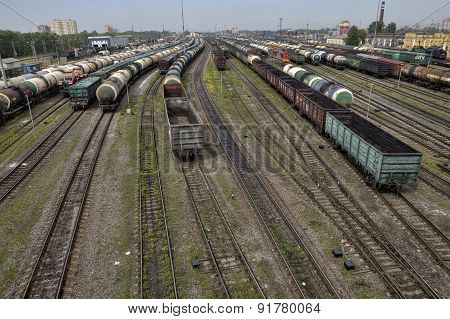 Empty Cargo Containers On Railroad, Marshalling Yard, Russian Railways.