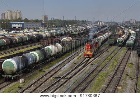 Parked Freight Trains Railroad Shunting Yard.