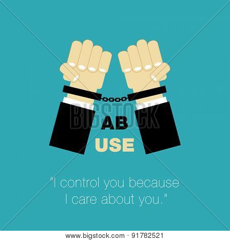 abuse poster hands with cuffs and controlling as care about other person