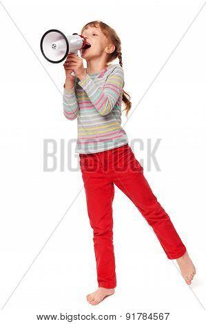 Little girl screaming in loudspeaker