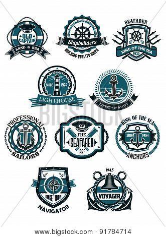 Marine and nautical heraldic emblems or icons