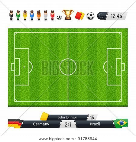 Green Soccer Field with Statistics Elements