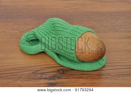 Darning Egg With Hand-knitted Sock