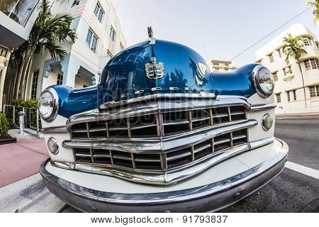 Dodge Vintage Car Parked At Ocean Drive In Miami Beach