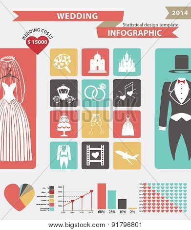 Wedding infographic set with flat icons,wedding wear