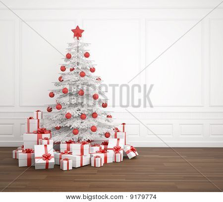 White And Red Christmas Tree In Empty Room
