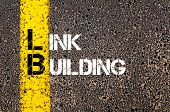 Concept image of Business Acronym LB as LINK BUILDING written over road marking yellow paint line. poster
