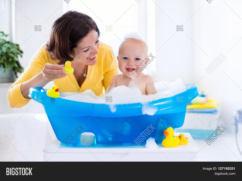 Happy Baby Taking Bath Image & Photo (Free Trial) | Bigstock