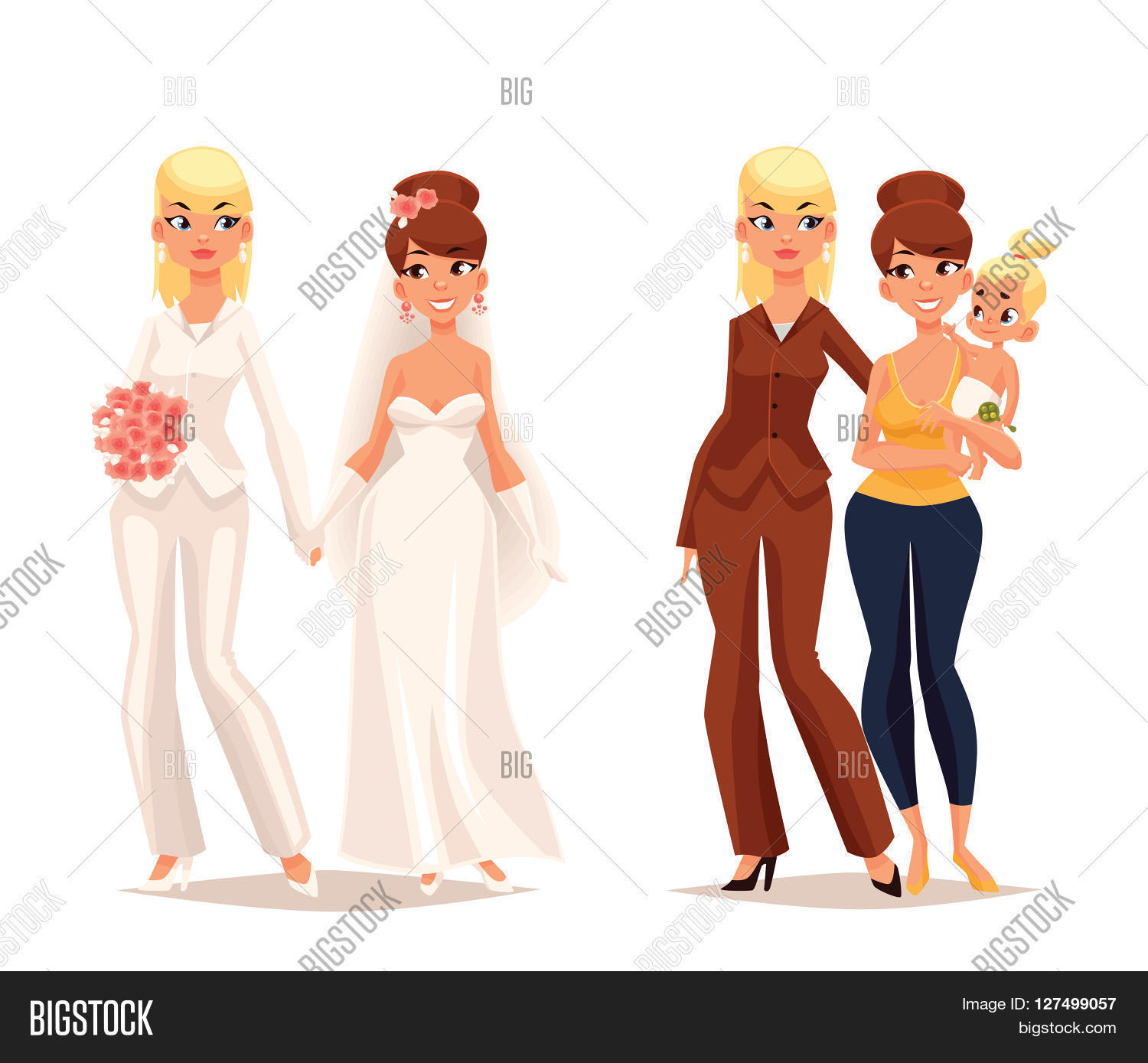 concept lesbian love, cartoon art image & photo | bigstock