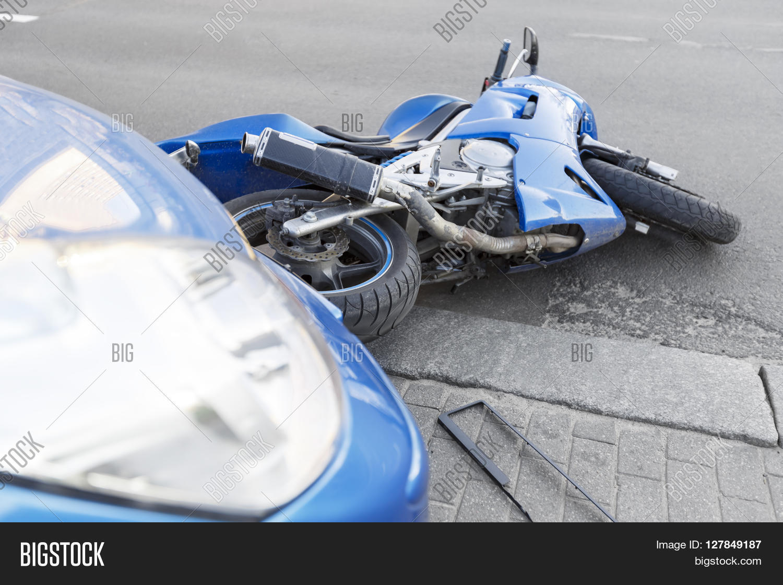 Accident Blue Bike Image Photo Free Trial Bigstock