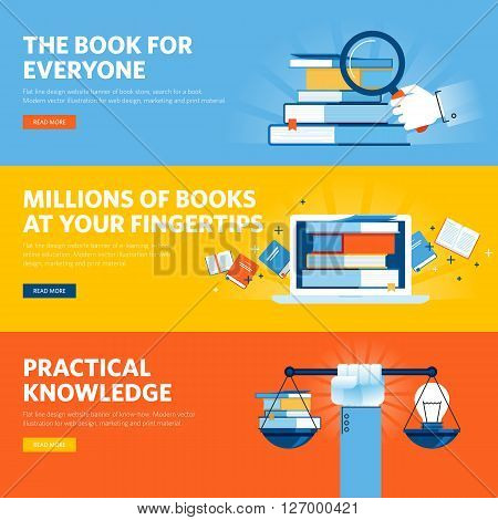 Set of flat line design web banners for online book store, e-book, know how. Vector illustration concepts for web design, marketing, and graphic design.