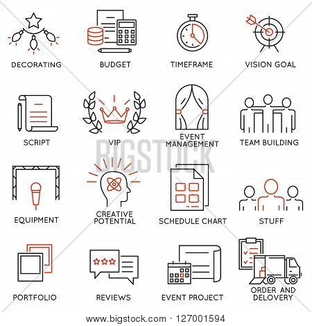 Vector set of 16 thin icons related to event management event service and special event organization. Mono line pictograms and infographics design elements - part 1