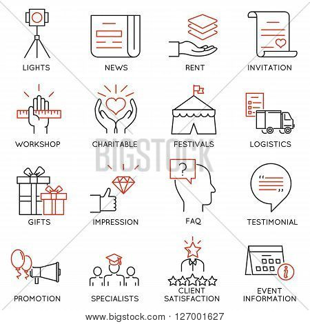 Vector set of 16 thin icons related to event management event service and special event organization. Mono line pictograms and infographics design elements - part 3