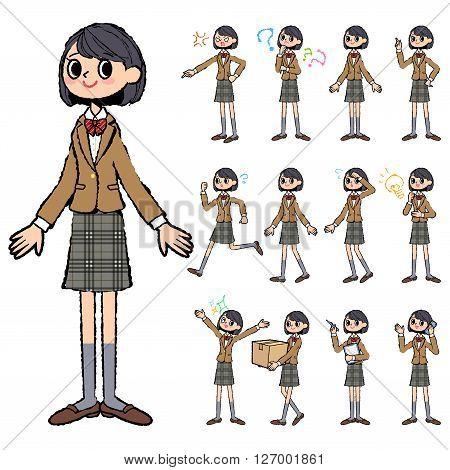 Set of various poses of school girl Brown Blazer in hand painted
