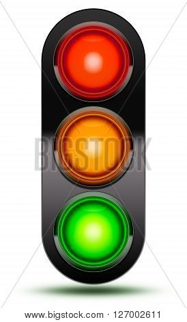 3D Illustration of Traffic lights as found at vehicle intersections or road crossings isolated on white in sequence red orange green with black shroud. Traffic signal light with drop shadow. poster