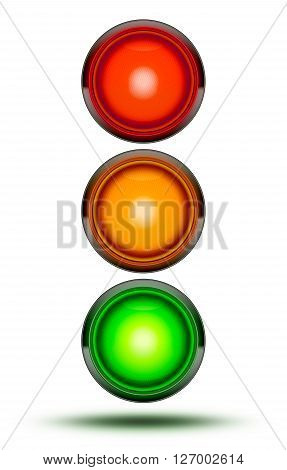 3D Illustration of Traffic lights as found at vehicle intersections or road crossings isolated on white in sequence red orange green. Traffic signal light with drop shadow.