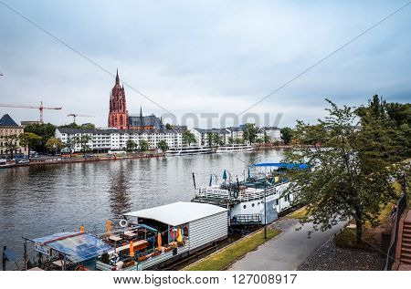 FRANKFURT, HESSE- July 11 : River view of Frankfurt am Main.Frankfurt is the largest city in the German state of Hesse and the fifth-largest city in Germany, July 11,2014 in Frankfurt, Germany.