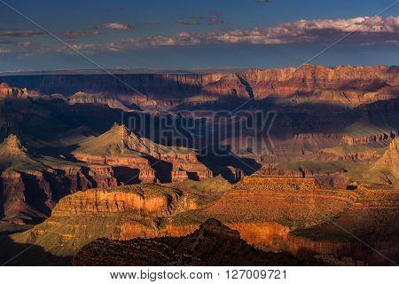 Grand Canyon, Arizona, scenery, profiled on sunset sky, with selective light and shade