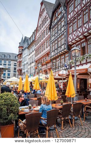 FRANKFURT, HESSE-February 12 : Old Town of Frankfurt am Main.Frankfurt is the largest city in the German state of Hesse and the fifth-largest city in Germany, July 11,2014 in Frankfurt, Germany.