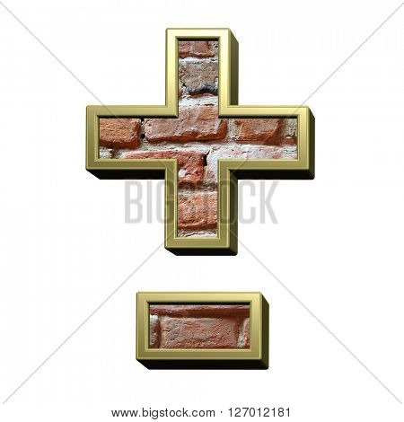 Hyphen, minus, plus marks from old brick with gold frame alphabet set, isolated on white. 3D illustration.