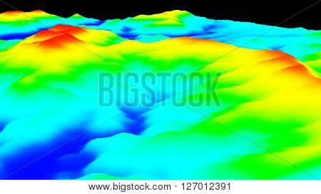 3D illustration of terrain surface structure looks like topography map