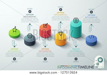 Modern business cylinder 3d style options banner. Vector. can be used for workflow layout, diagram, number options, step up options, web design, infographics, timeline.