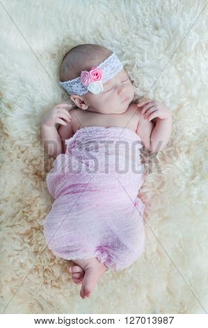 Little newborn baby sleeps tight 15 days