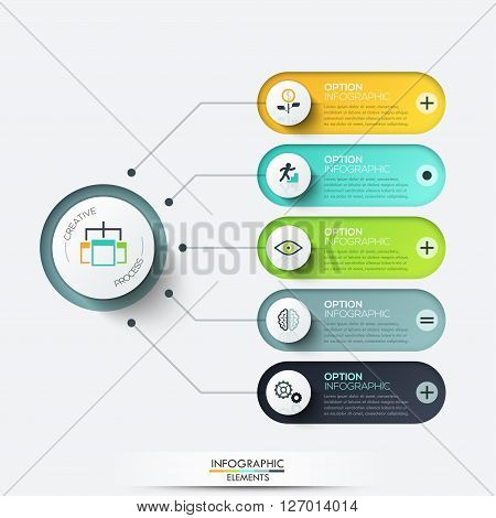 Vector elements for infographic. Template for diagram, graph, presentation and chart. Business concept with 5 options, parts, steps or processes. Abstract background