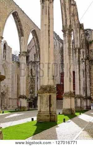 Ruins of Carmo church in Lisbon Portugal
