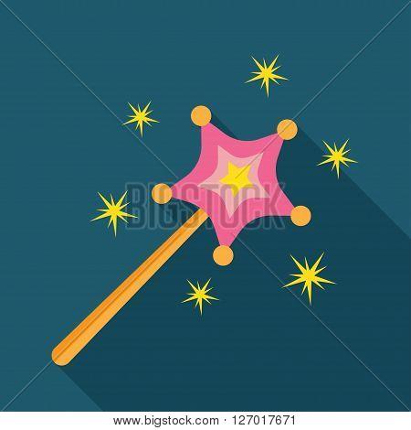 illustration of magic wand icon isolated on white. flat Vector icon