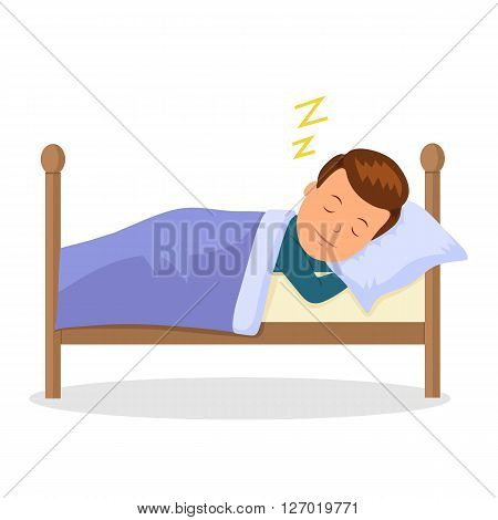 Child is sleeping sweet dream. Cartoon baby sleeping in a bed. Isolated vector illustration in the flat style.