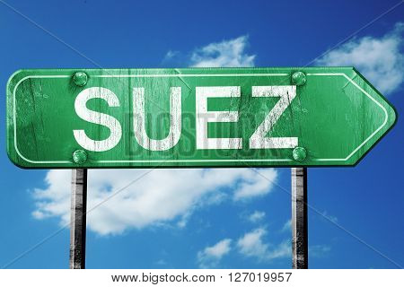 suez road sign, on a blue sky background