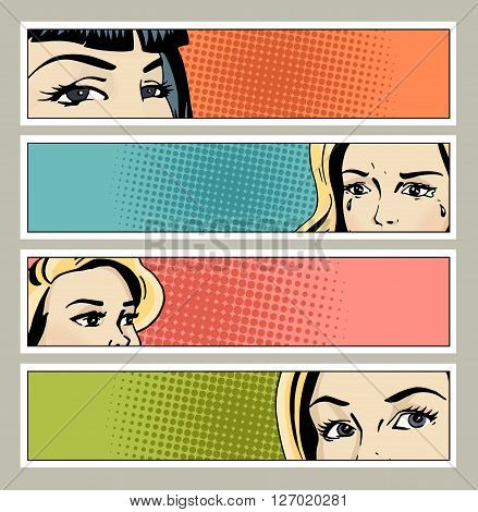 Pop art banner with female eyes and blank space for text. Cartoon beautiful woman eyes.Vintage advertising poster. Comic hand drawn vector illustration.