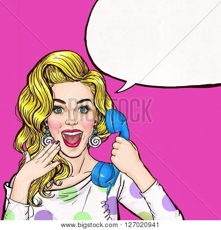 Surprised young sexy woman shouting/yelling on retro telephone.Advertising poster.Comic woman.Gossip girl, red cheeks, curls, sexy girl, shout, hipster, hey, wow,announcing, yes. Pop Art girl.Call me.