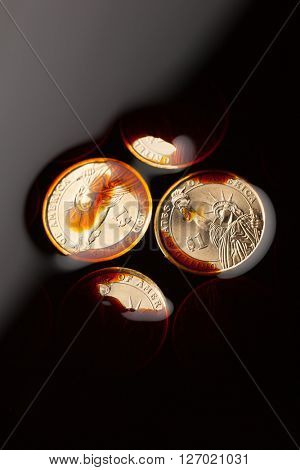 dollar coins in the crude oil - barrel price concept