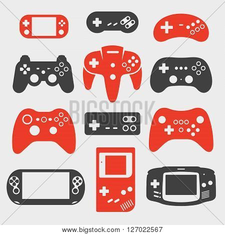 Set of icons on a theme gamepad, console, joystick poster