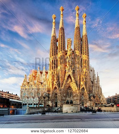 BARCELONA SPAIN - FEB 10: View of the Sagrada Familia a large Roman Catholic church in Barcelona Spain designed by Catalan architect Antoni Gaudi on February 10 2016. Barcelona