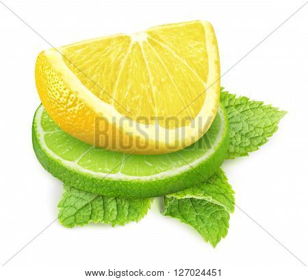 Isolated lemon and lime. Two pieces of lime and lemon fruits with mont leaf isolated on white background with clipping path