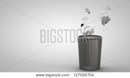 3D illustration of waste basket with thrown away papers